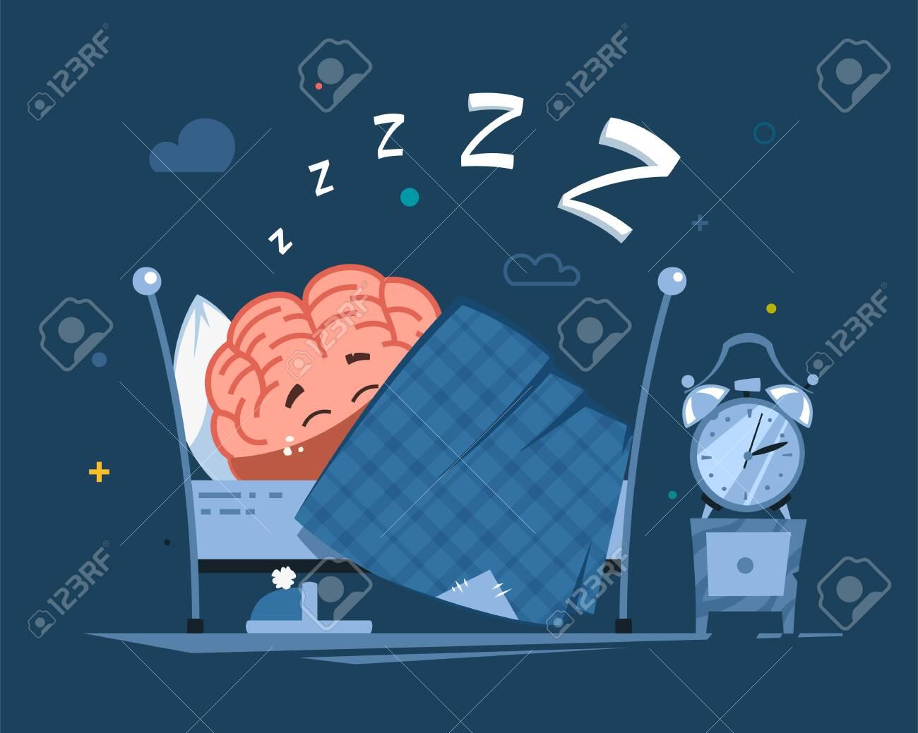 vector human brain character has a healthy sleep in the bed - 146573776