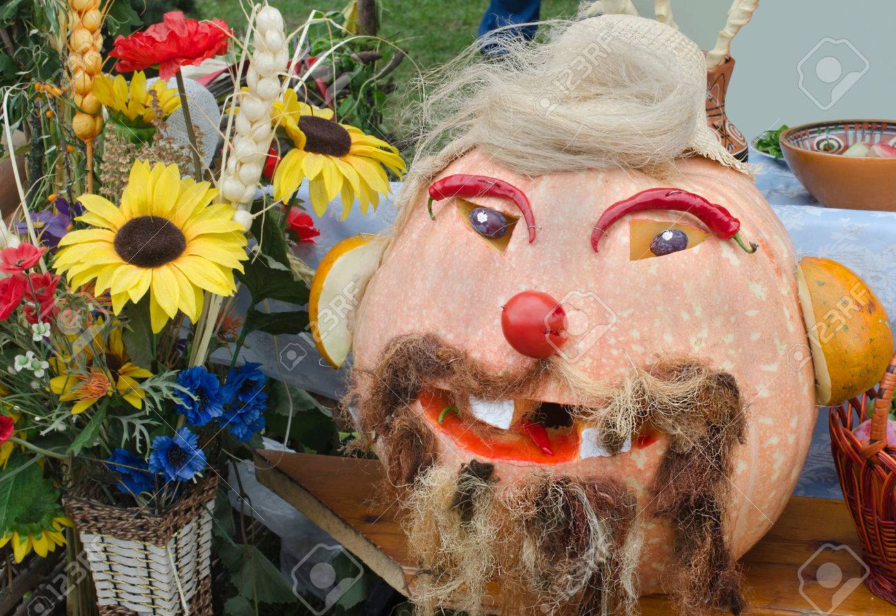 Pumpkin-head Man Hack Of Vegetables Decoration At The Fair Stock ...