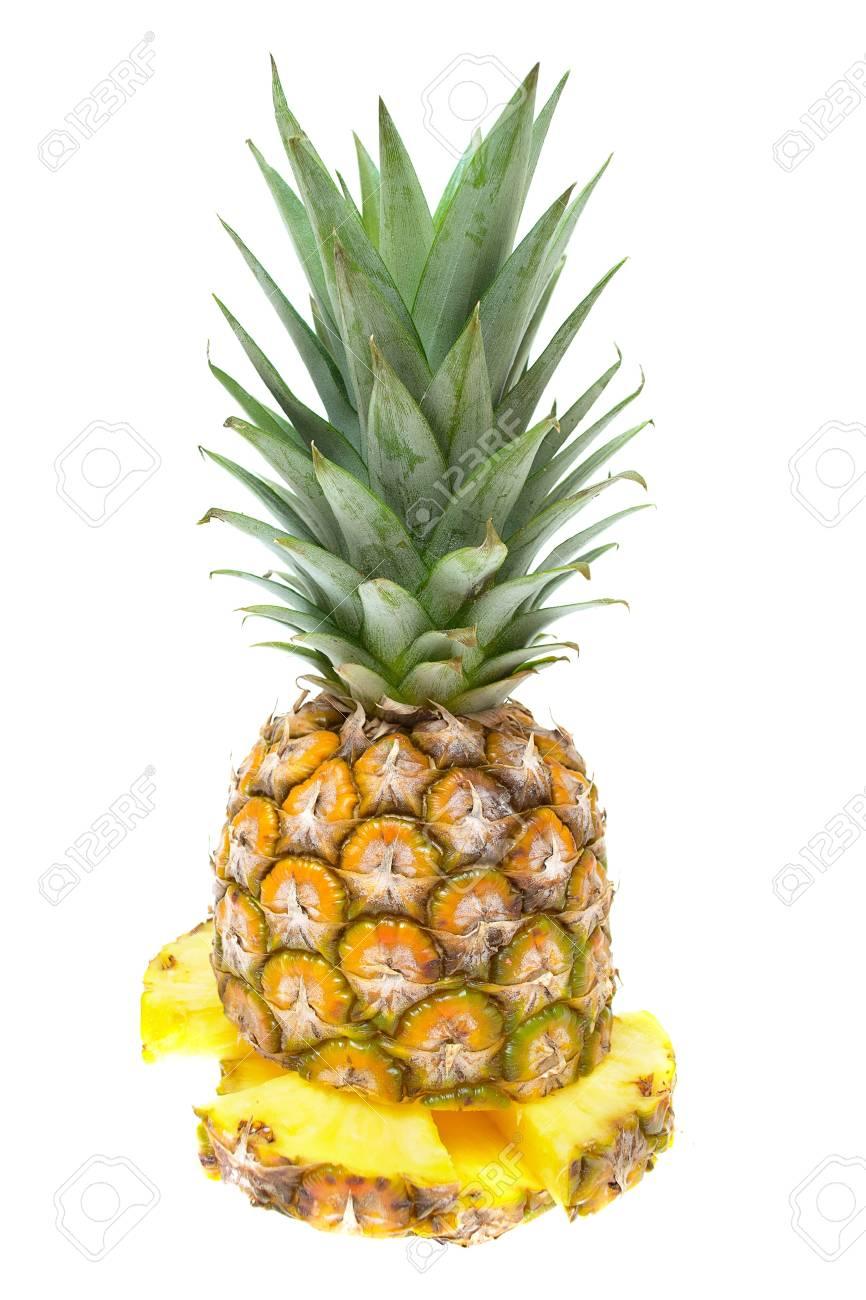 Fresh sliced pineapple isolated on white background Stock Photo - 15813326