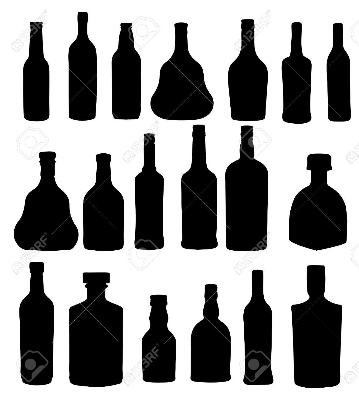 vector illustration silhouette alcohol bottle Stock Vector - 15813349