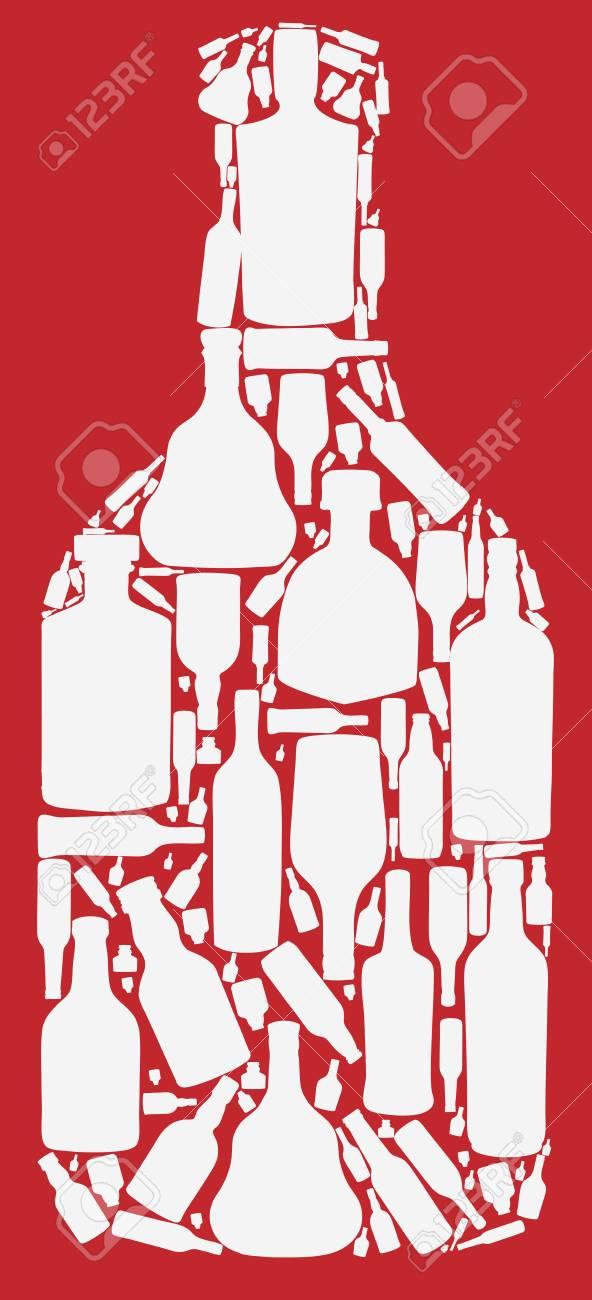vector illustration silhouette alcohol bottle Stock Vector - 15924014