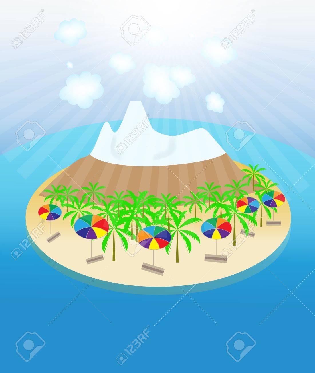 Island, palm trees, sun, umbrellas seamless pattern  Vector illu Stock Vector - 16732060