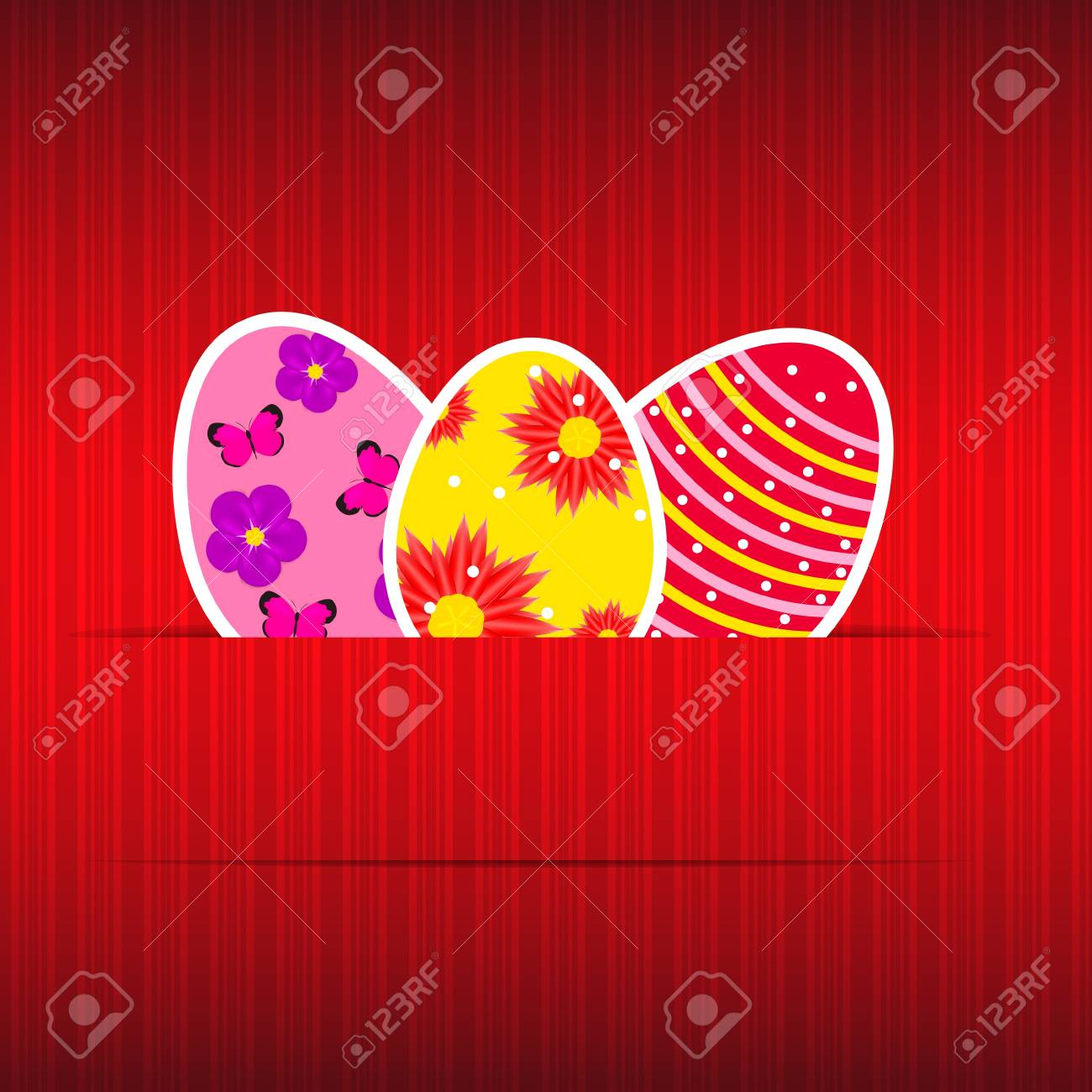 Paper card with easter eggs vector illustration Stock Vector - 17285792
