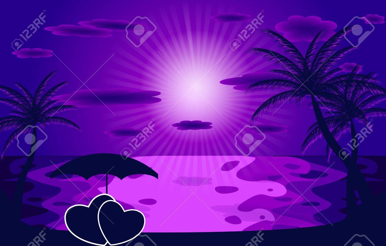 Palm in the sunset illustration Stock Vector - 18228347
