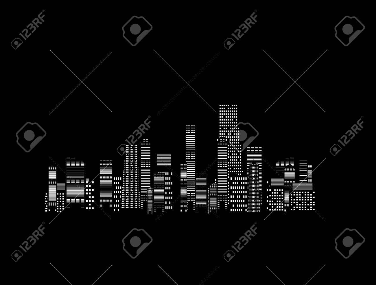 illustration of cities silhouette on black background Stock Vector - 18517018
