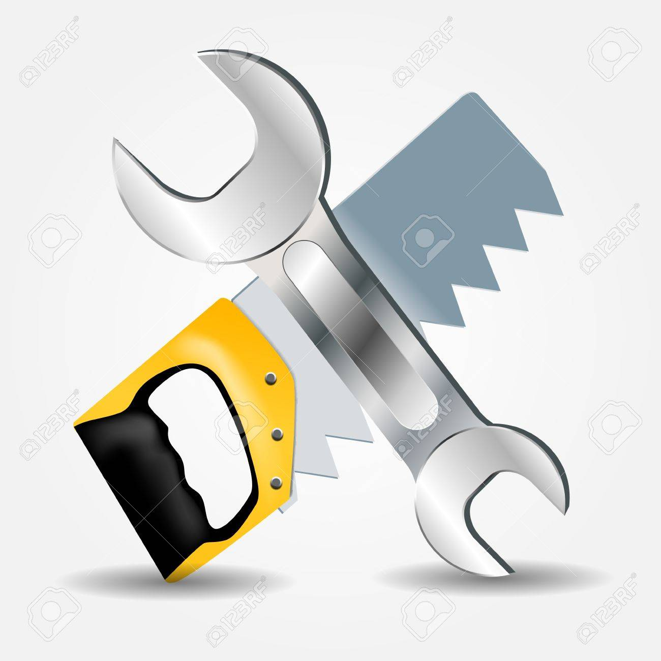 Saw and Wrench icon illustration Stock Vector - 20596445