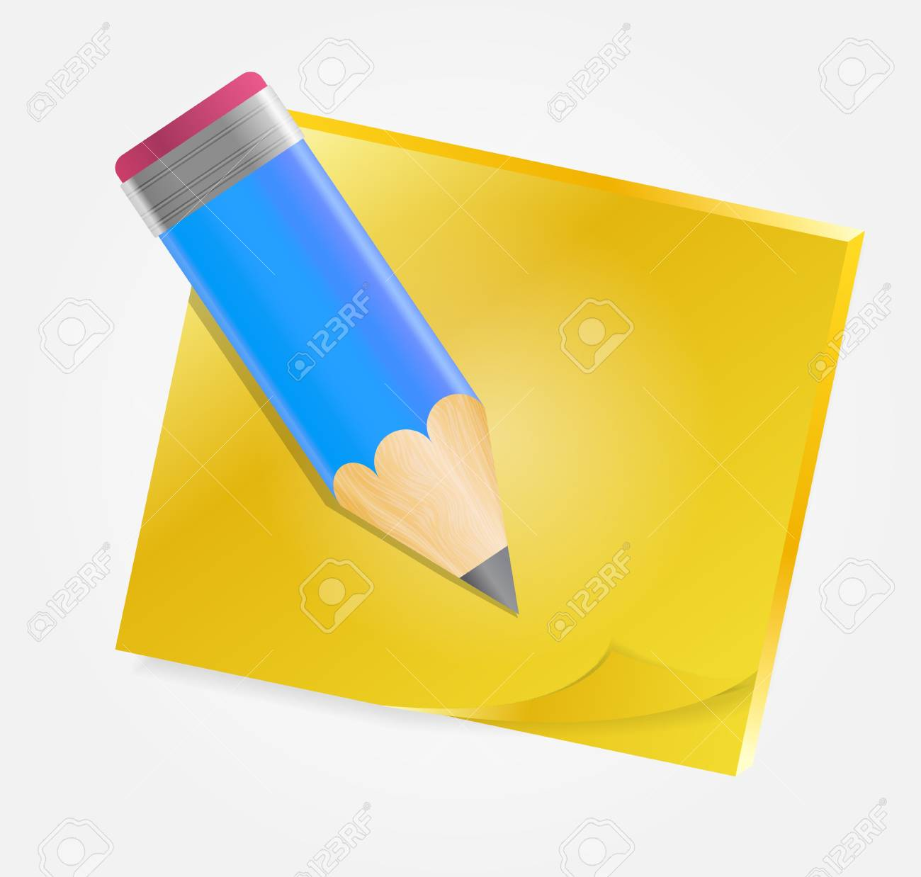 Yellow paper with pencil illustration Stock Vector - 20831381