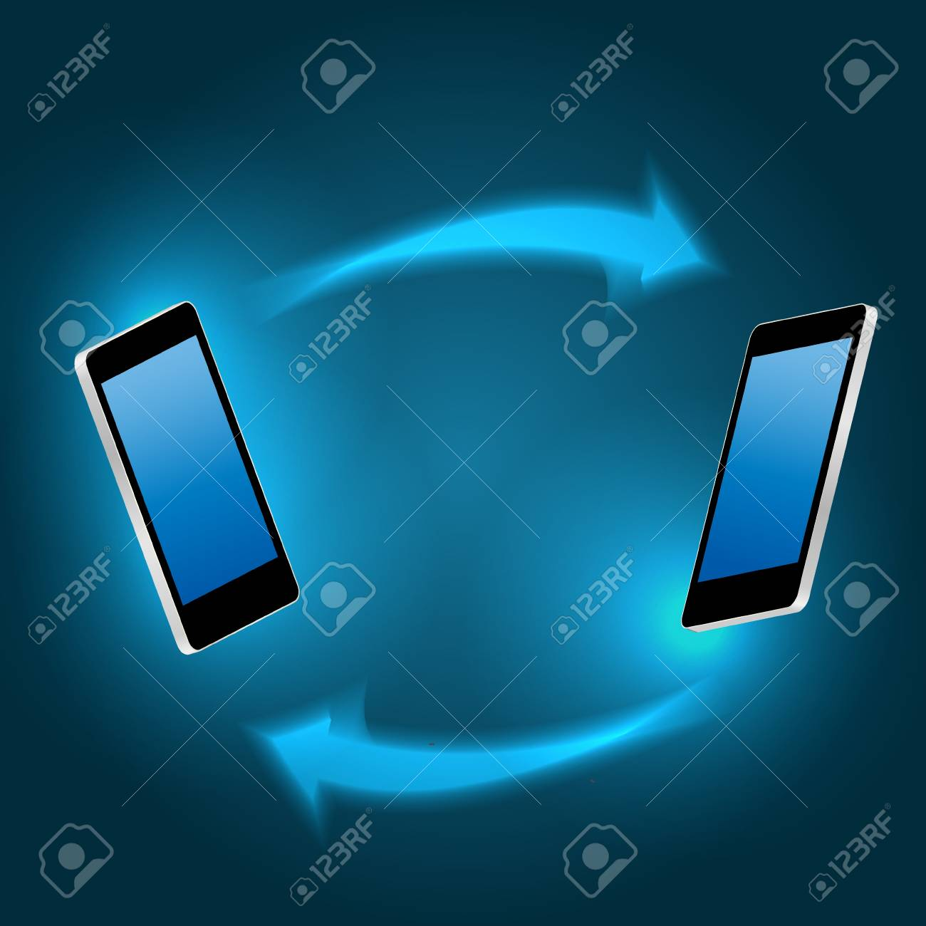 Global connecting concept with mobile phone illustration Stock Vector - 21318212