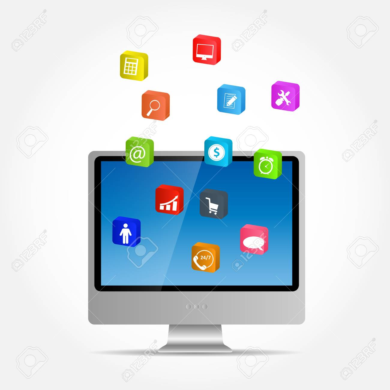 Computer with icons illustration Stock Vector - 21318231