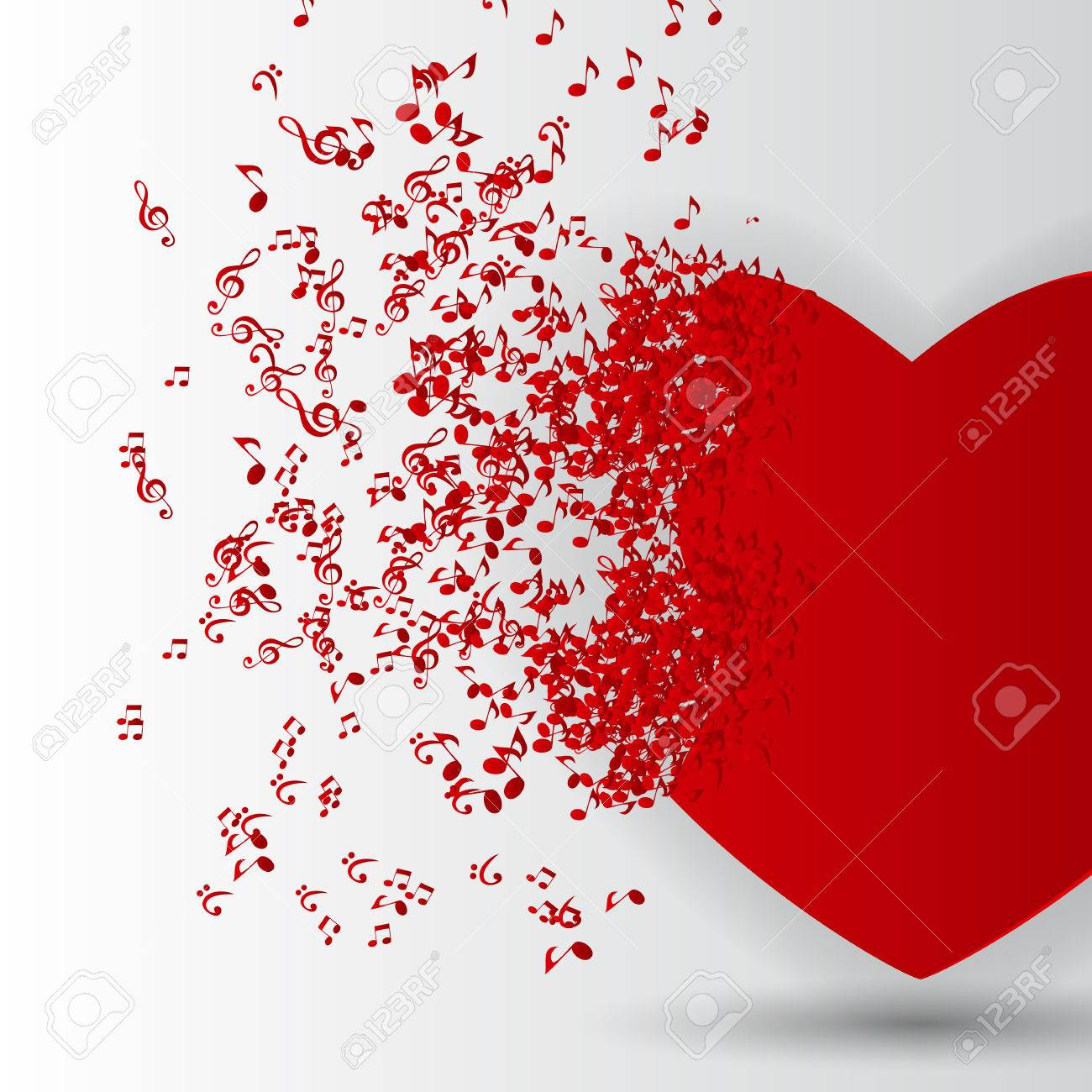 Happy Valentines Day Card  with Heart, Music Notes. Vector Illustration Stock Vector - 24874327