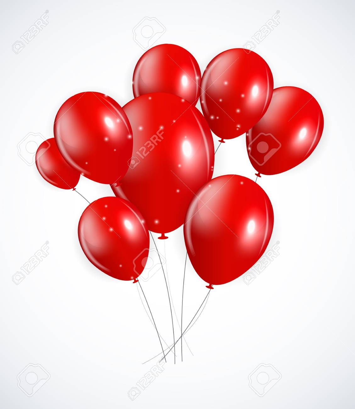 Set Of Red Balloons Vector Illustration EPS10 Stock