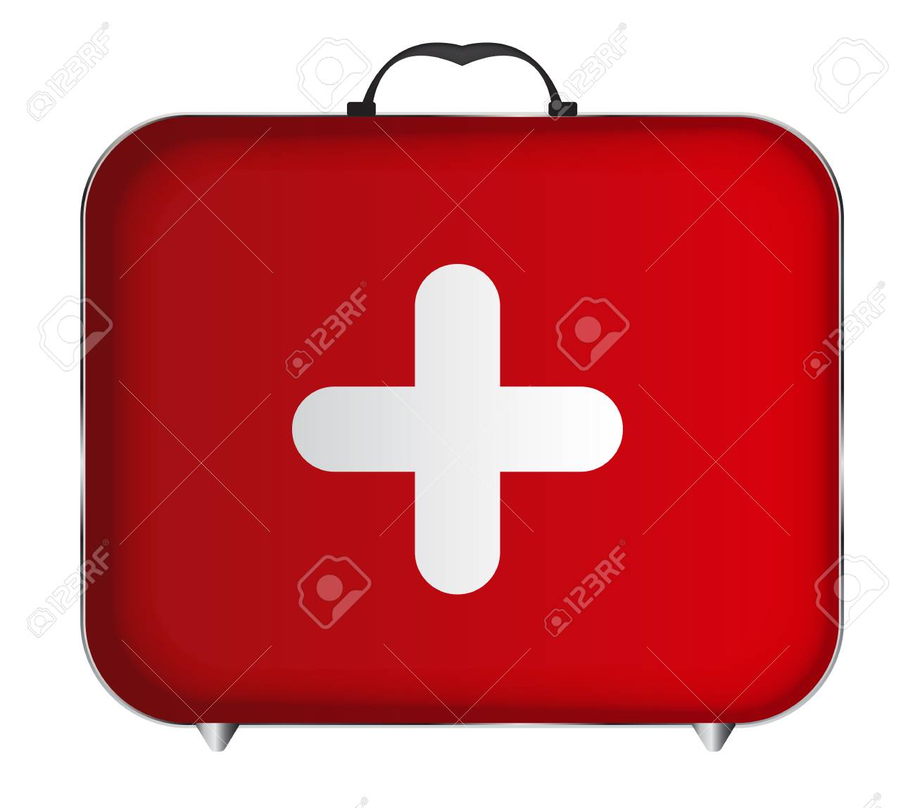 Red Medical Bag With A Cross Vector Illustration Royalty Free
