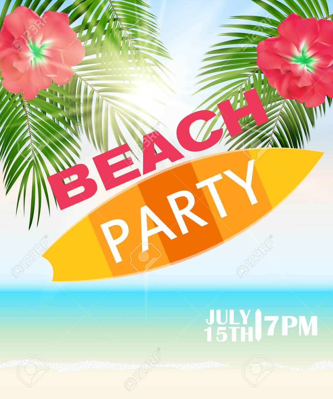 ビーチ夏祭りポスター ベクトル図のイラスト素材ベクタ Image 54202683