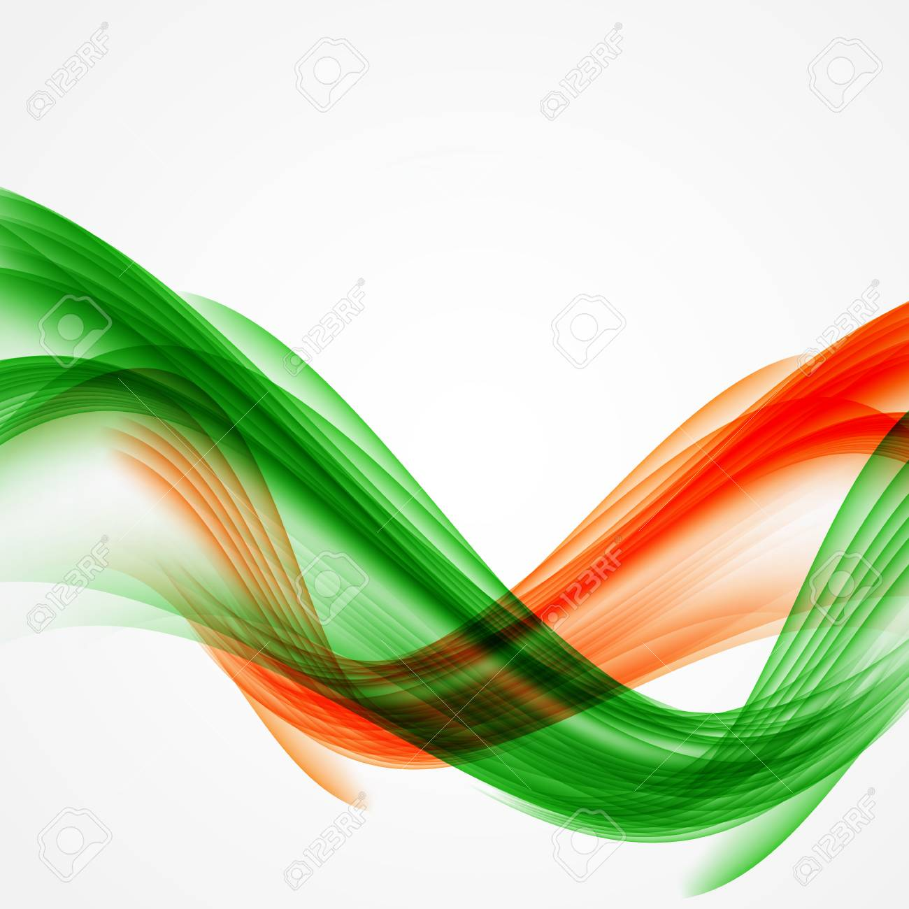 Abstract Green And Orange Wave On White Background