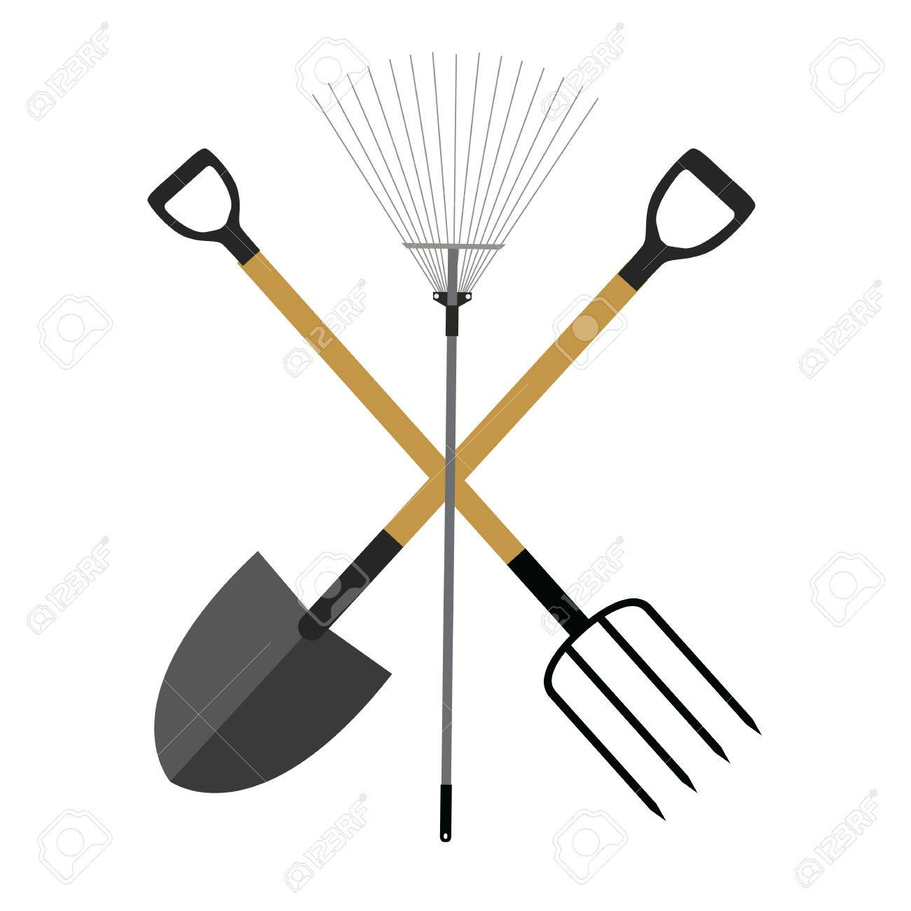 Garden Tools, Instruments Flat Icon Collection Set. Shovel, Rake And  Pitchfork Vector Illustration