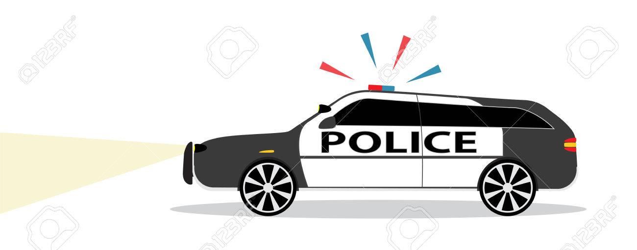 Carro De Policía Coloreado Con Diseño Plano De La Sirena ...