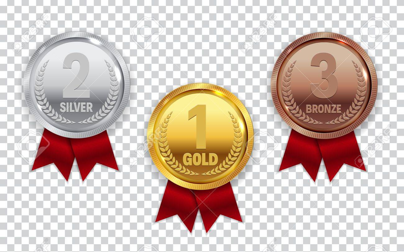 Champion Gold, Silver and Bronze Medal with Red Ribbon Icon Sign - 83364205