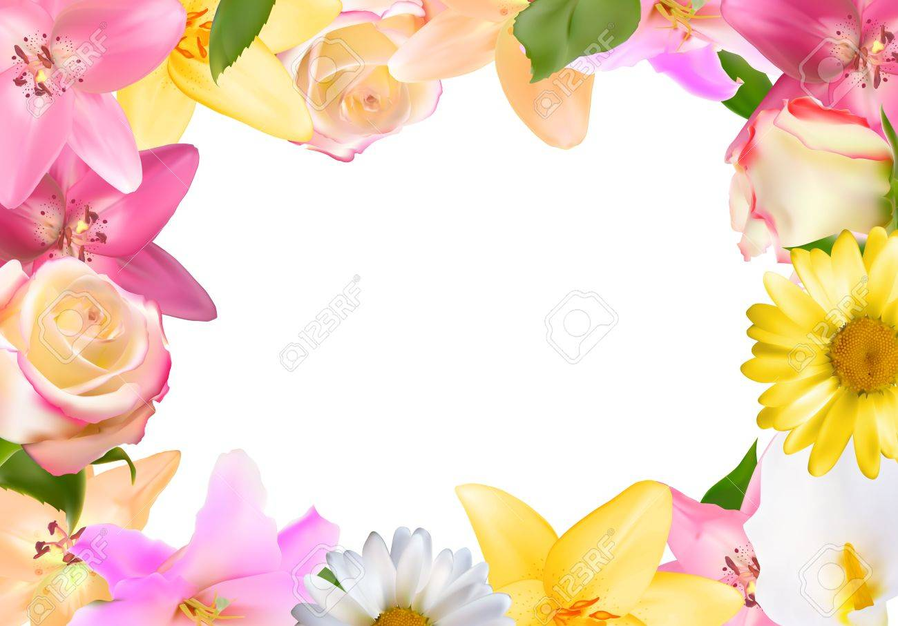 Abstract frame with lily rose and other flowers natural backgr abstract frame with lily rose and other flowers natural backgr stock vector 84627777 izmirmasajfo