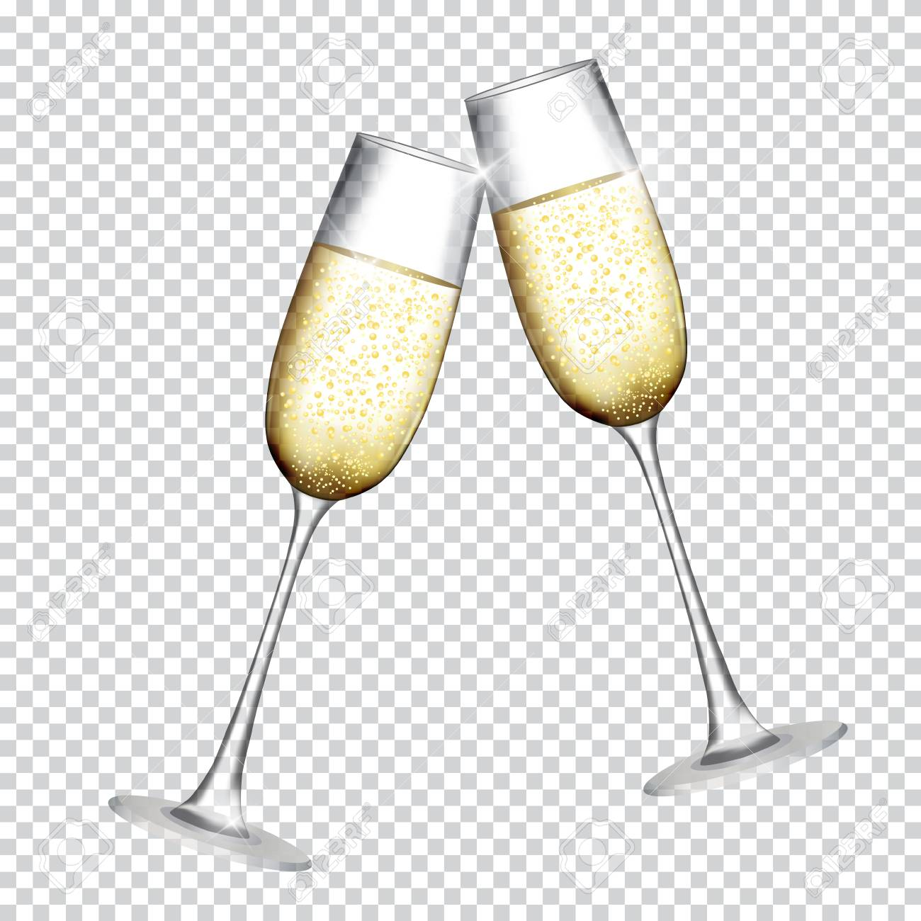 Two Glass of Champagne Isolated on Transparent Background. Vector Illustration - 87534326
