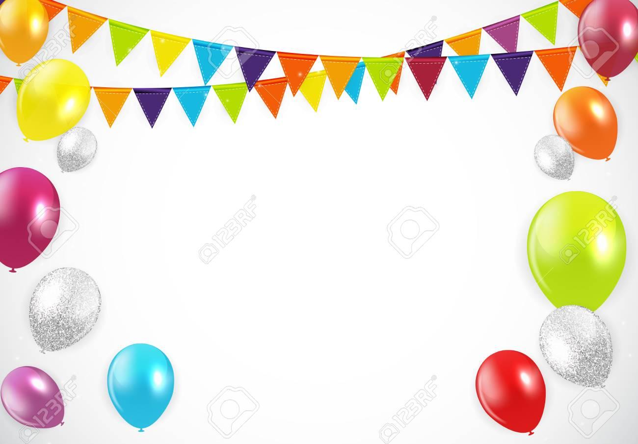 Glossy Happy Birthday Balloons Background Vector Illustration Stock