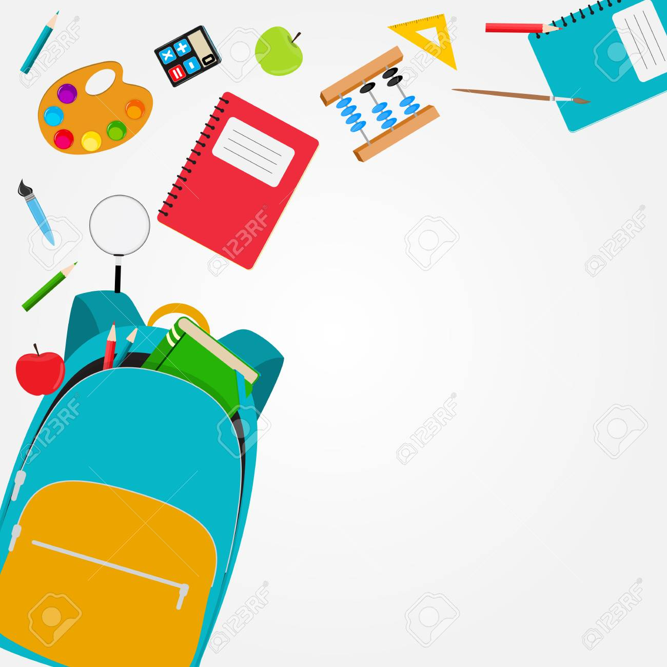 Bag, backpack icon with school accessories. Vector Illustration - 102360904
