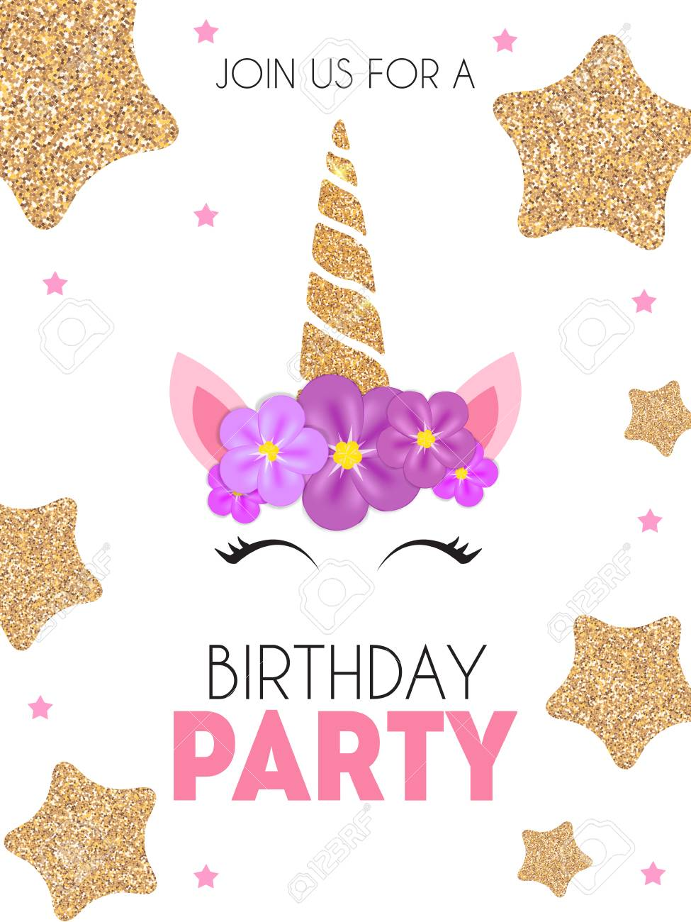 Birthday Party Invitation With Cute Unicorn And Flower Vector