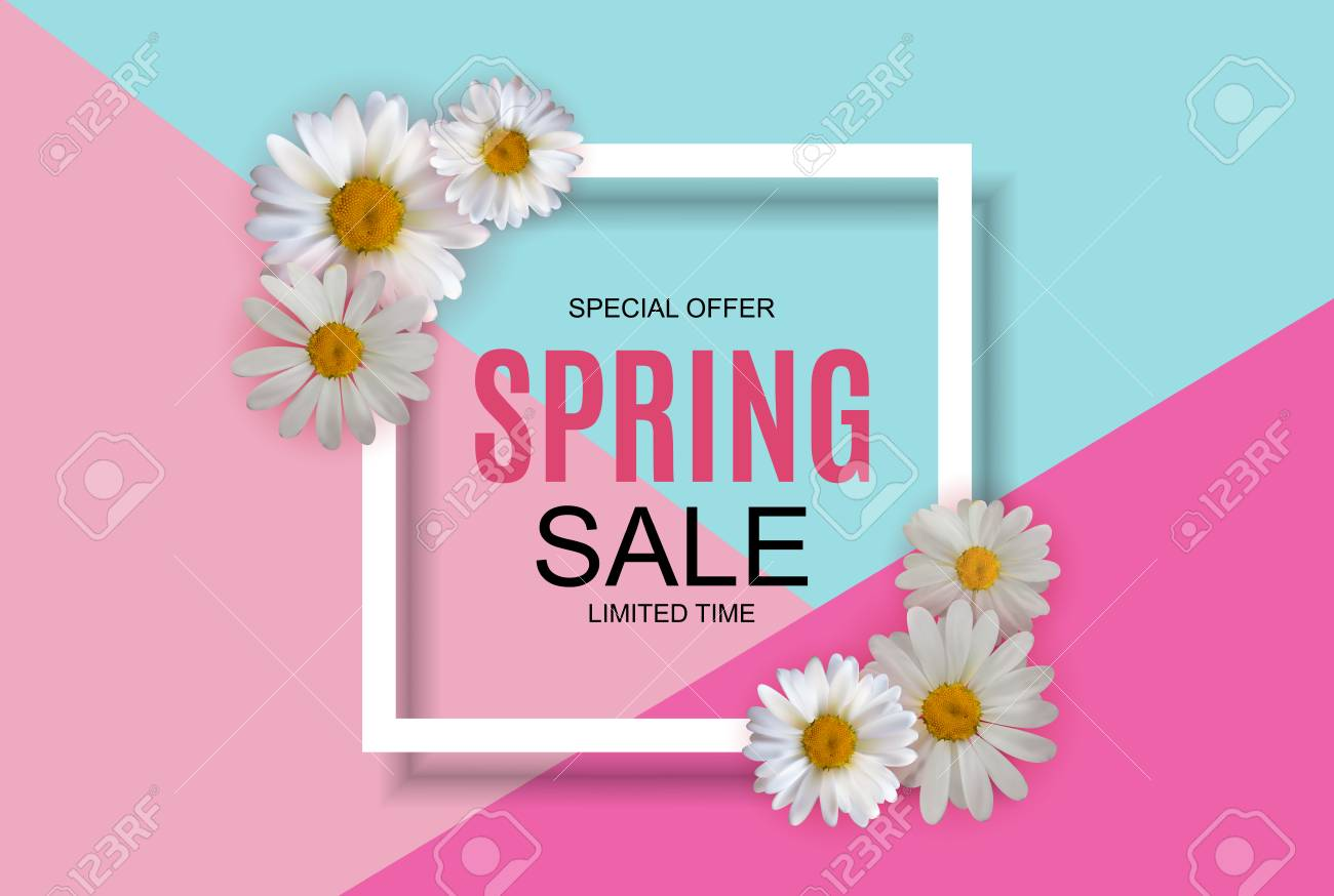 Spring Sale Cute Background with Colorful Flower Elements. Vector Illustration EPS10 - 124654421