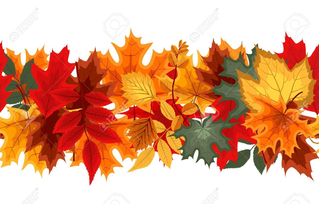 Autumn Seamless Border with Falling Autumn Leaves. Vector Illustration EPS10 - 150074115