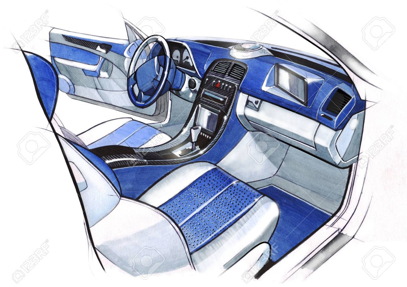 Design Sketching The Interior Of A Sports Car Coupe. Drawing, Watercolor.  Illustration.