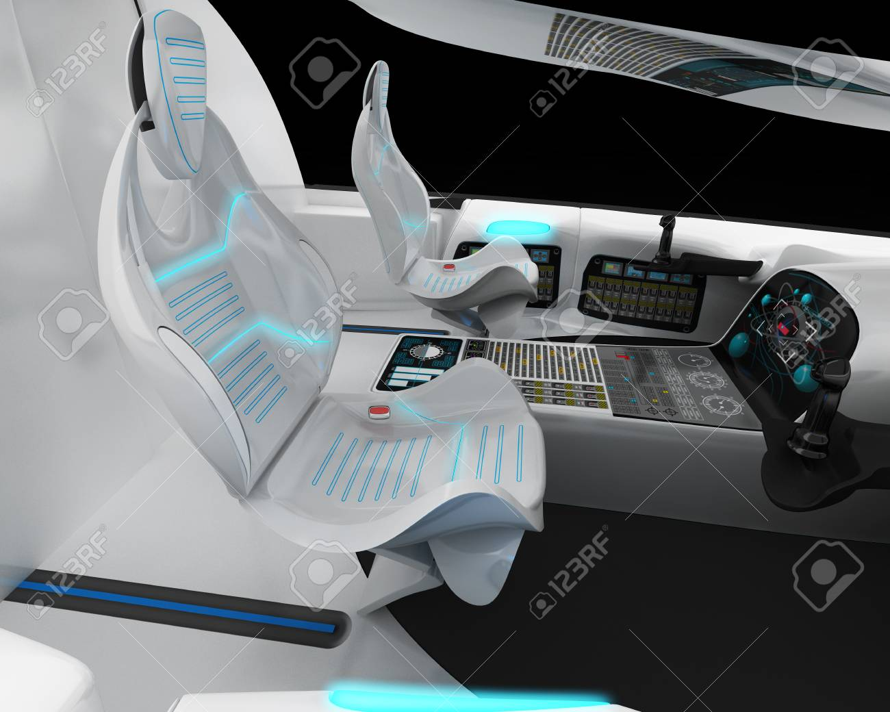 Futuristic Interior Design Of The Pilot Cabin Supersonic Aircraft Stock Photo Picture And Royalty Free Image Image 102630421
