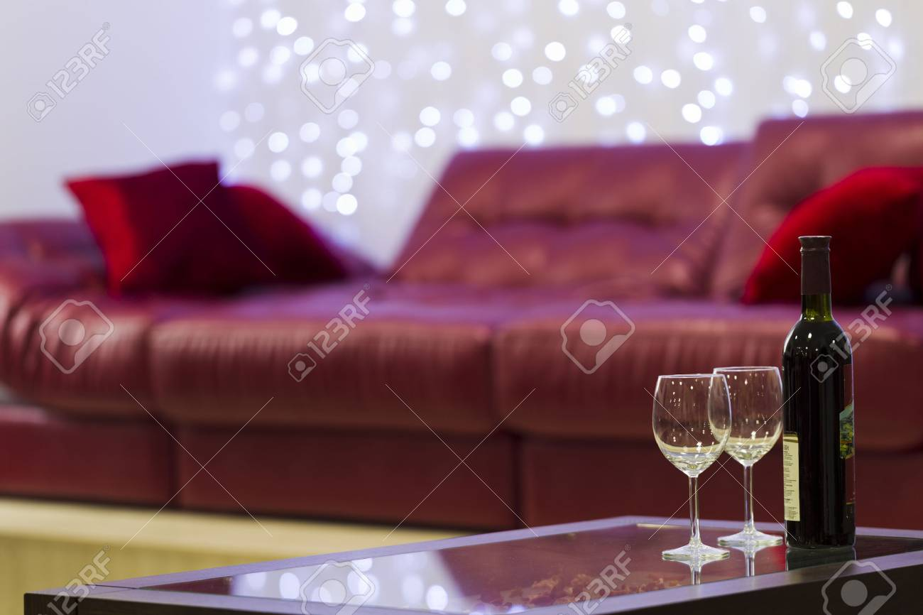 Marvelous Bottle Of Wine With A Glass On The Coffee Table On A Background Gamerscity Chair Design For Home Gamerscityorg