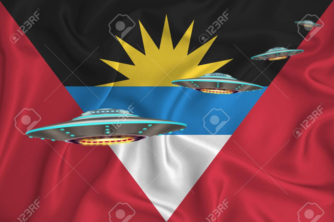 Waving flag of antigua and barbuda. UFO group on the background of the flag. UFO news concept in the country. 3D rendering - 147017148