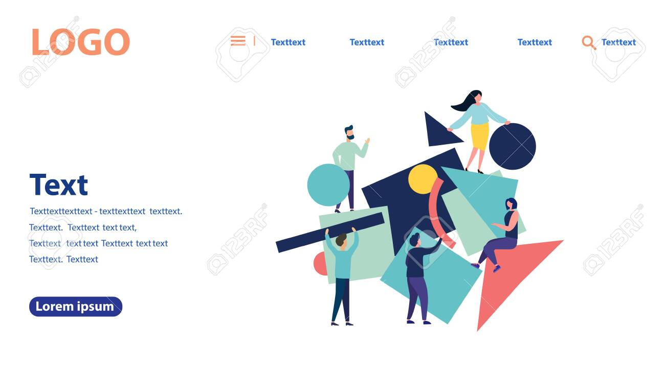 Vector illustration of flat people. A team of people collects abstract geometric puzzles. Flat style modern design for web page, flyer, poster, mobile website. Landing page template. - 138664958