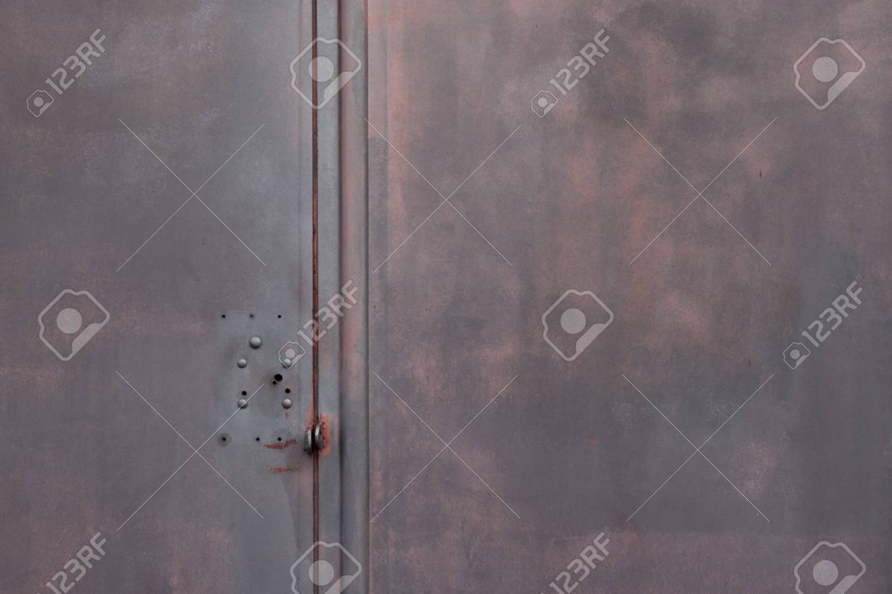 Dark Grey Background Metallic Garage Door Gate With Red Infernal