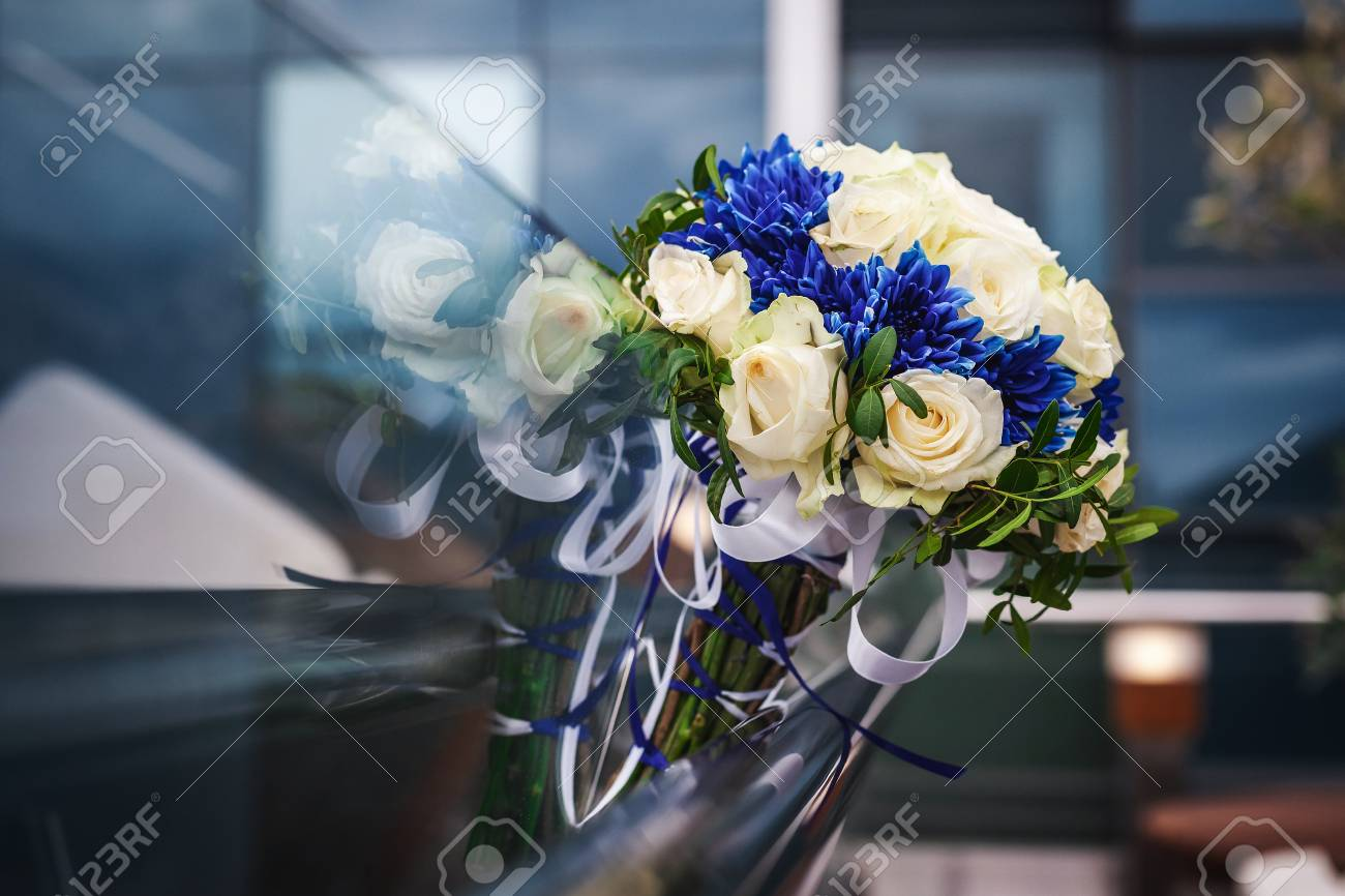 Beautiful Modern Wedding Bouquet With White And Blue Flowers Stock