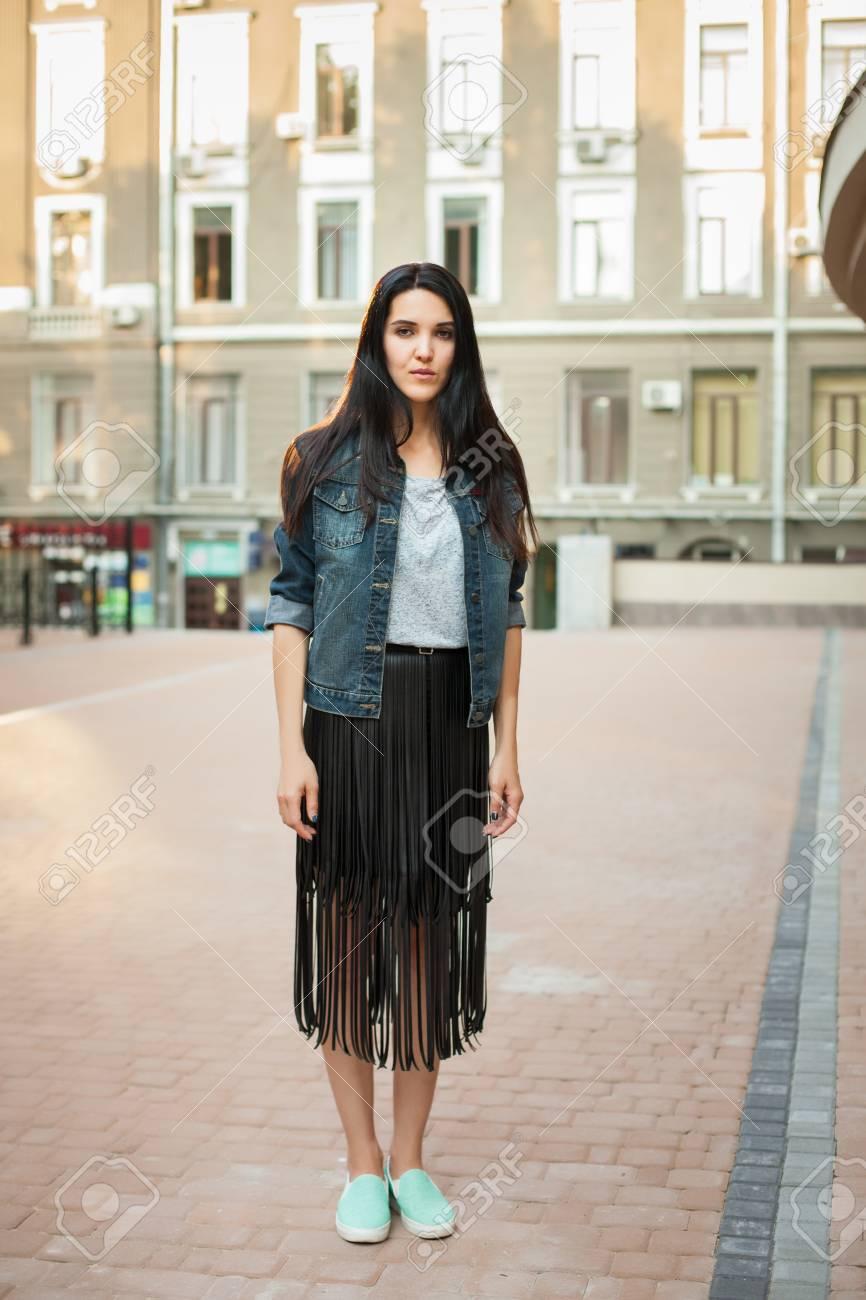 01cdcf6fa4f Black Skirt And Jean Jacket