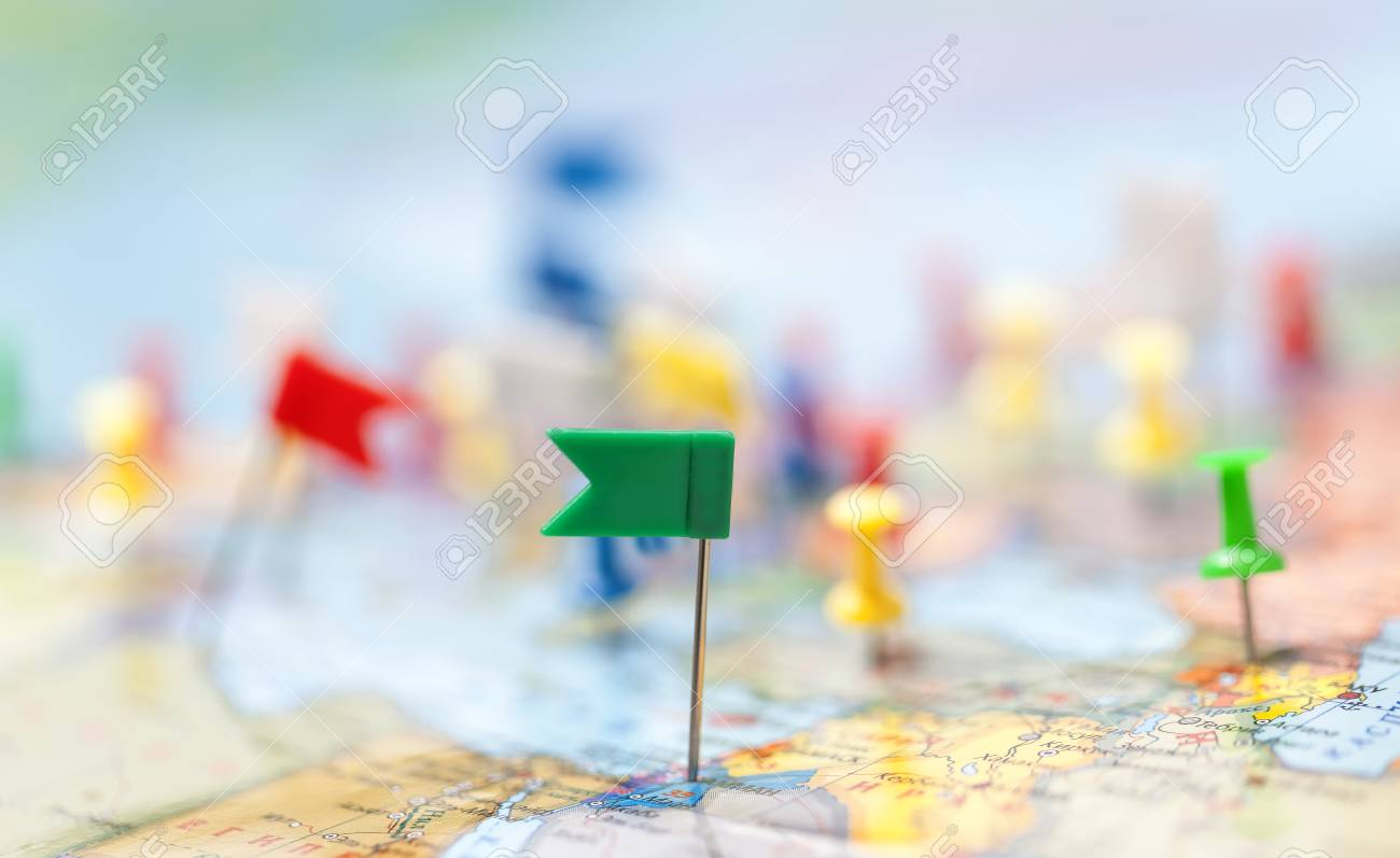 world map country flags marked pin city pinpoint stock photo