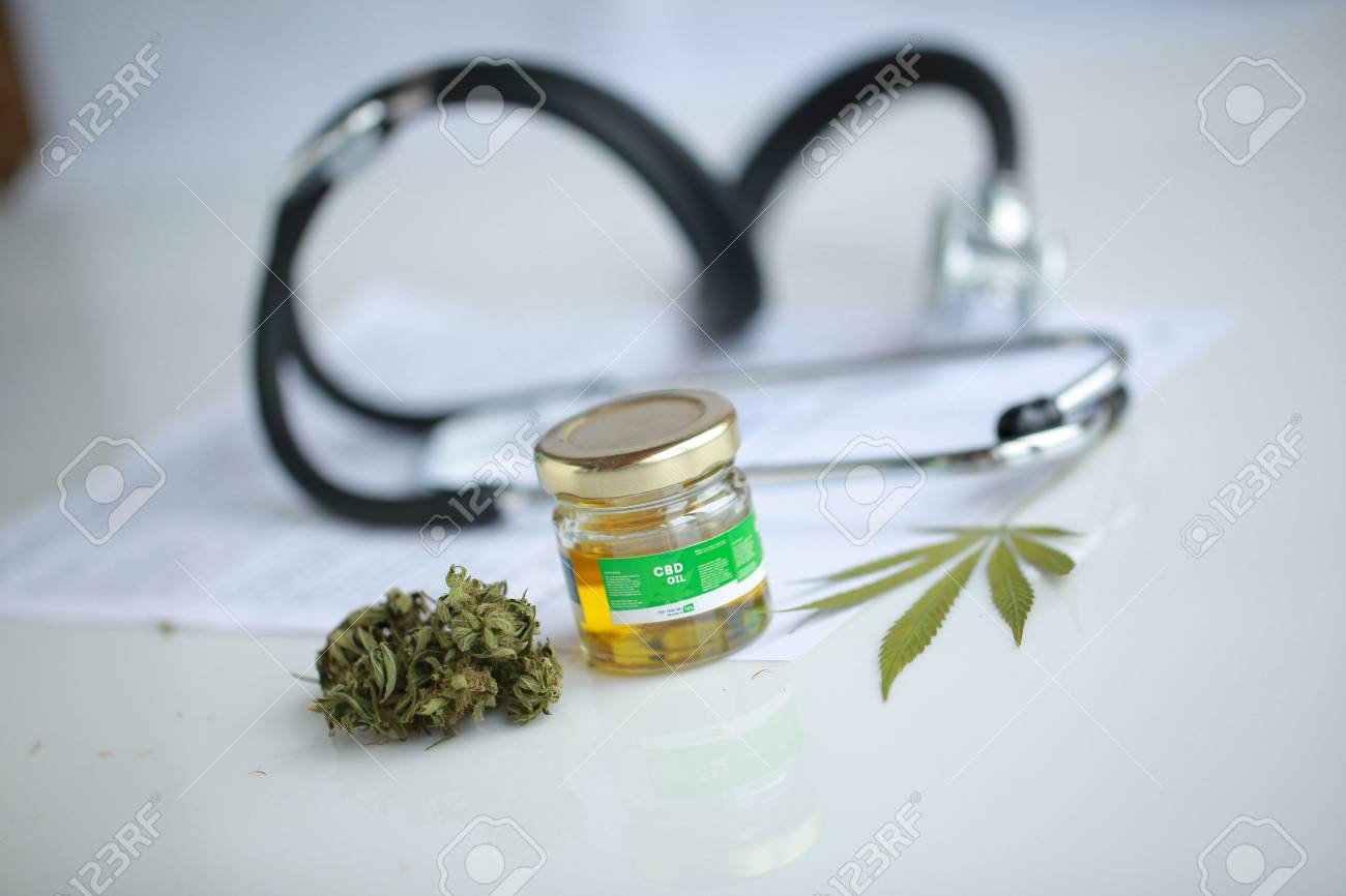 cannabis, CBD oil ,stethoscope and recipe