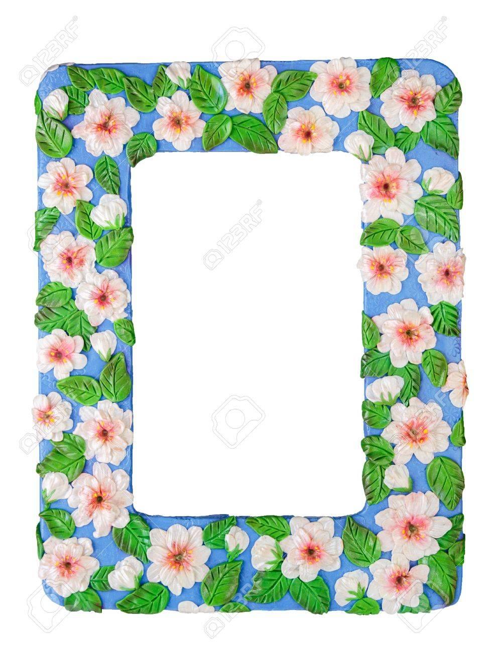 Fotorahmen Aus Polymer Clay Handgemacht Gestaltete Weiße Blumen Auf ...