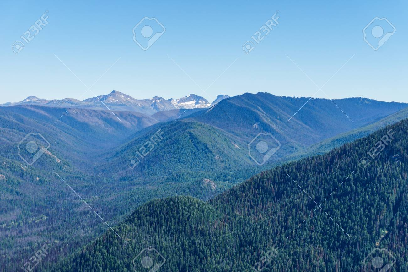 Mountain View On Mountains From Top Pick With Clear Sky Stock Photo