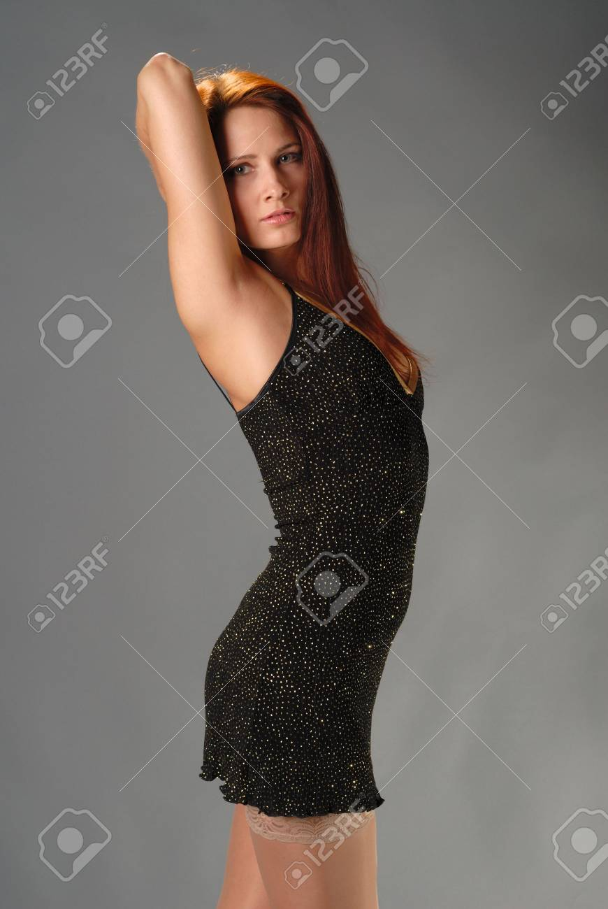 Portret of young model in short open dress Stock Photo - 861343