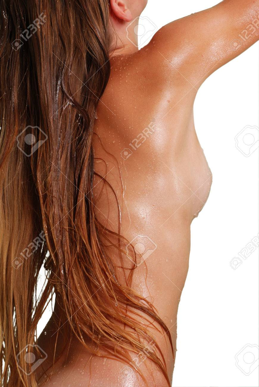 Women in shower with drops of water on skin Stock Photo - 1565110
