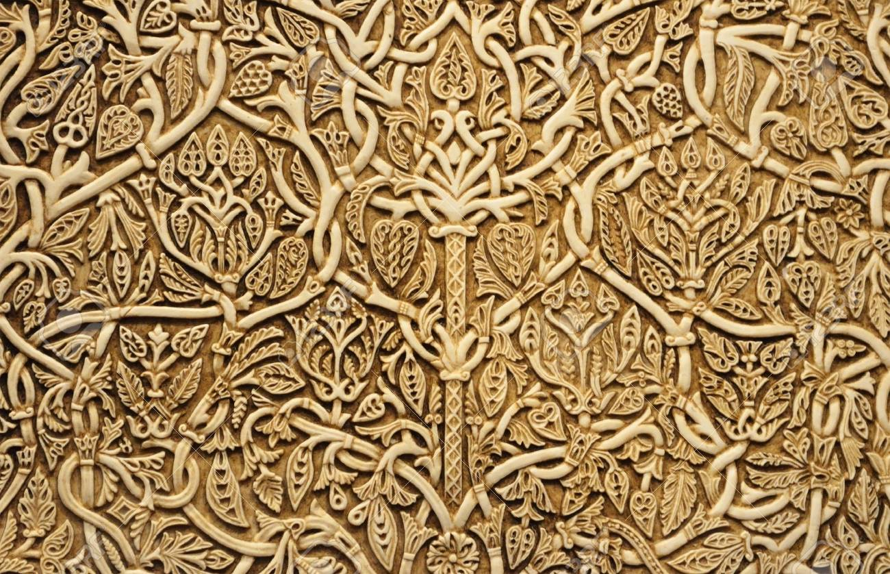 Floral Pattern Is Made On The Ivory Bone Ancient Scrimshaw Photographed Close Up