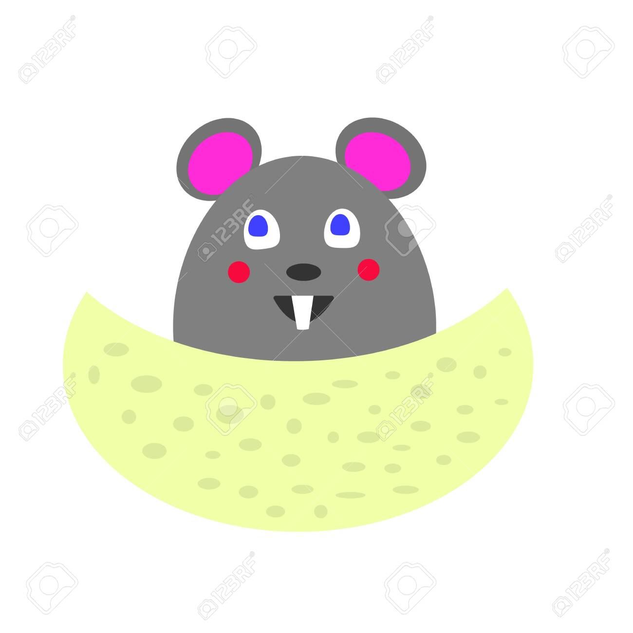 cartoon gray mouse for a piece of cheese with holes the concept of cute and pet - 130541543