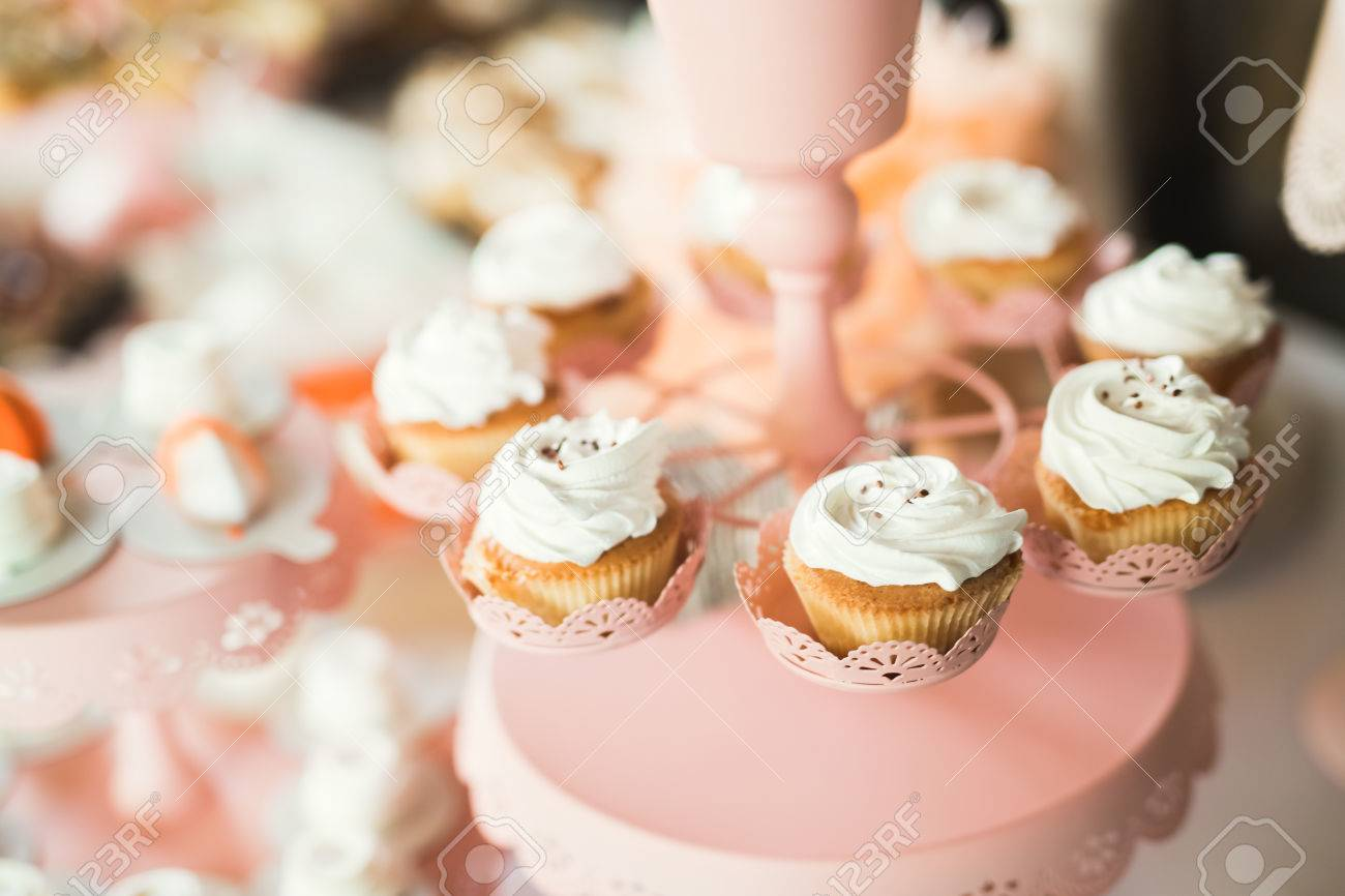 Delicious Sweets On Wedding Candy Buffet With Desserts, Cupcakes ...