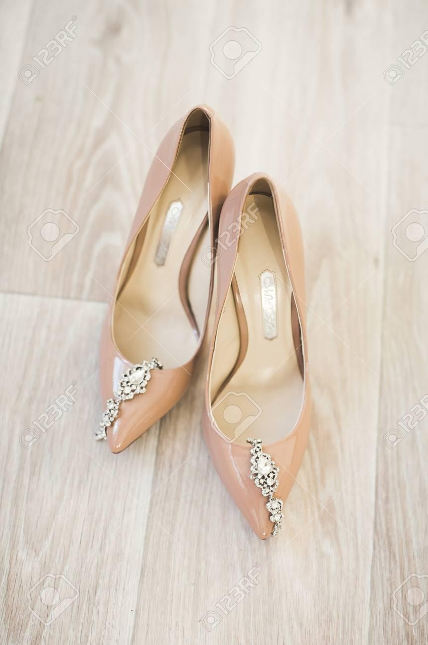 5d972b1948b Stock Photo - White beautiful wedding shoes for women