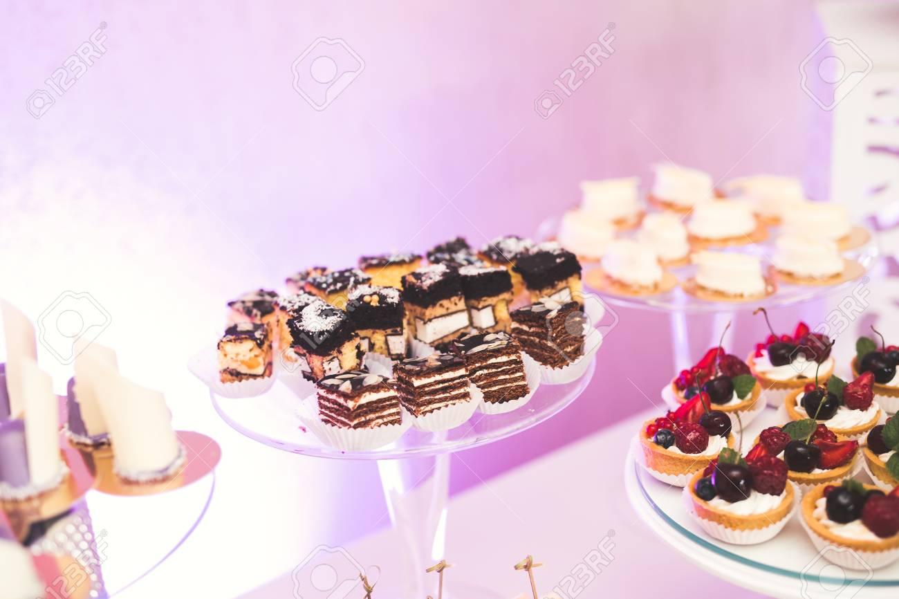 Delicious Wedding Reception Candy Bar Dessert Table Stock Photo ...