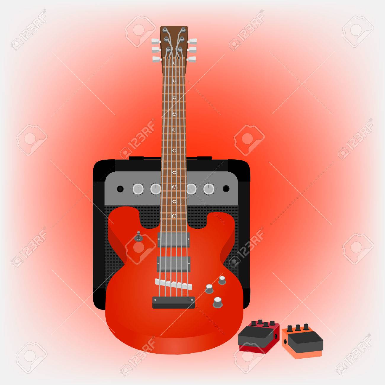 Illustration Of Electric Guitar Amp Pedals Stock Vector