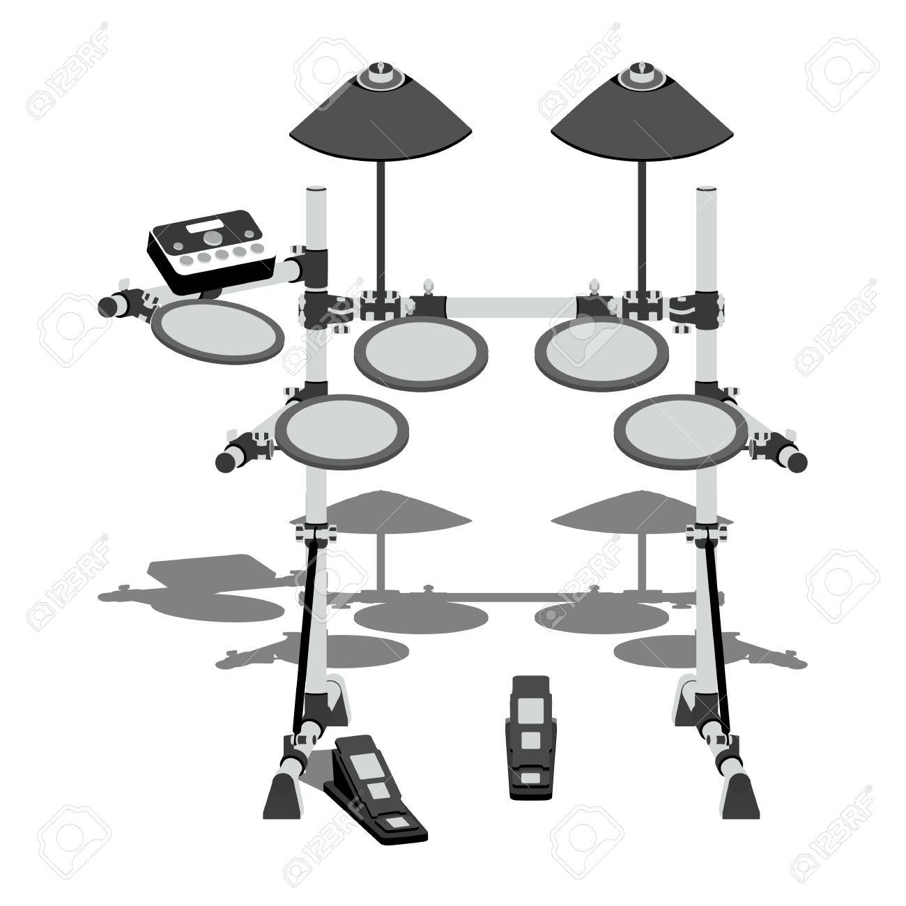 Illustration of electric drum kit with a controller and pedals