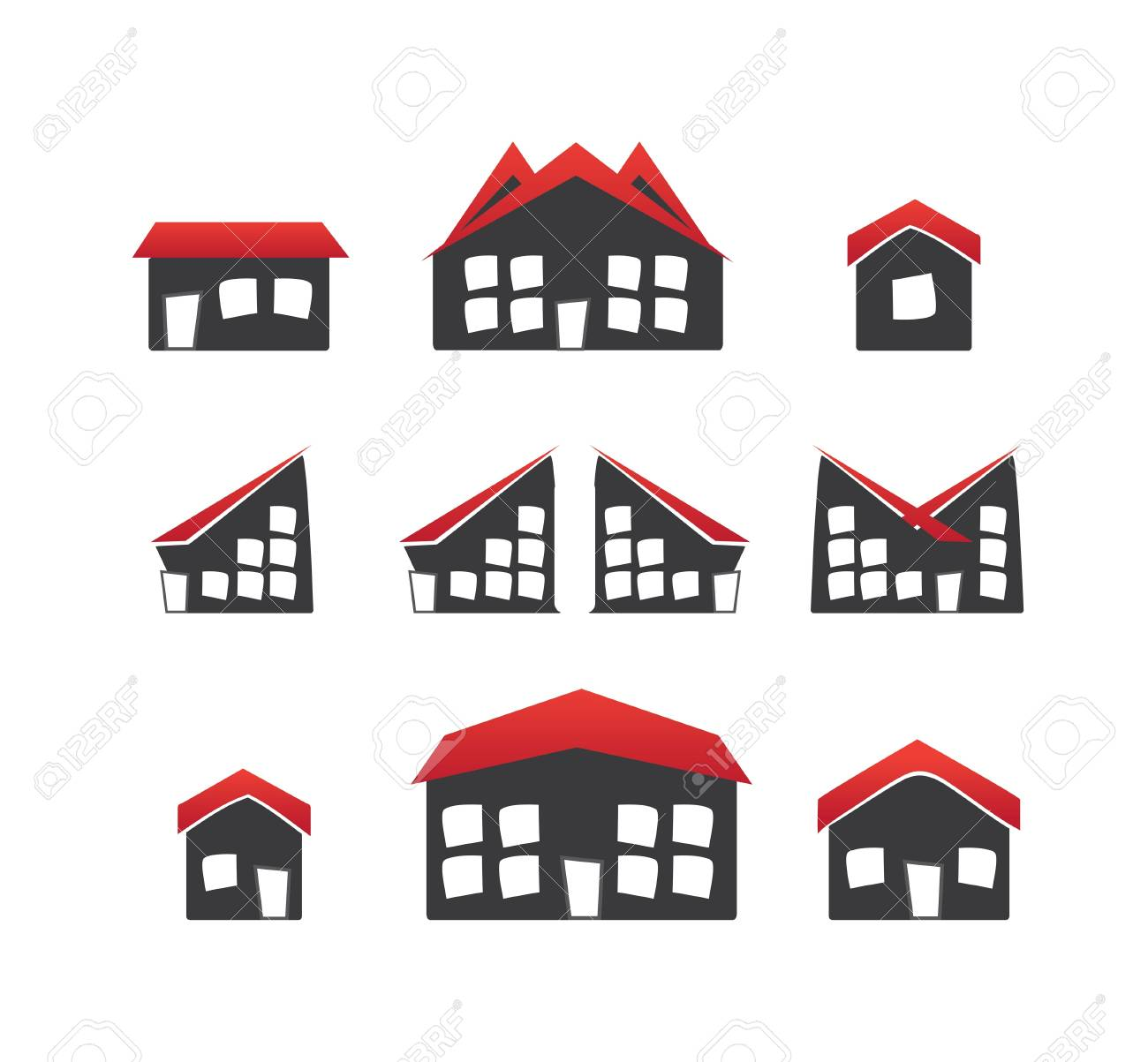 Houses icons Stock Vector - 15399190